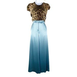 St John Couture Pants Palazzo Wide Leg Crop Silky